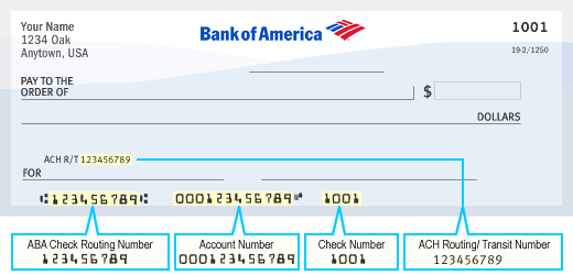 Example of Bank of America Check