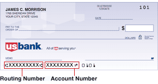 US Bank Routing Number Example