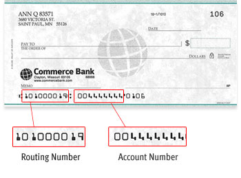 Commerce Bank Check with Routing Number 101000019 and Account Number